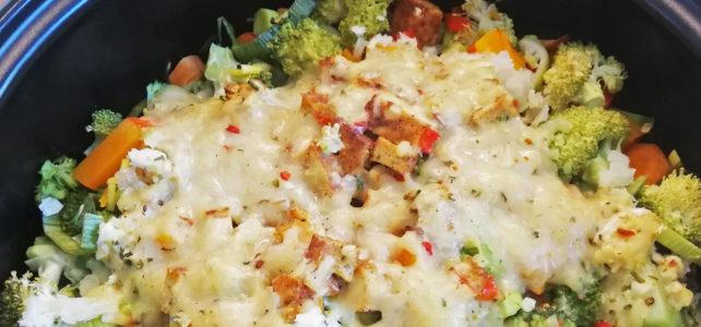 Überbackener Reis-Gemüse-Auflauf